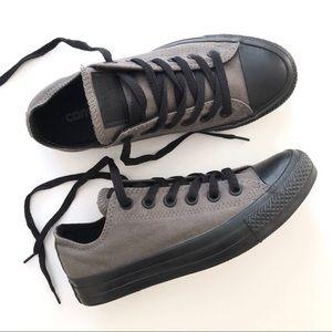 Converse Gray w/ Black Sole Low Chucks Sneakers